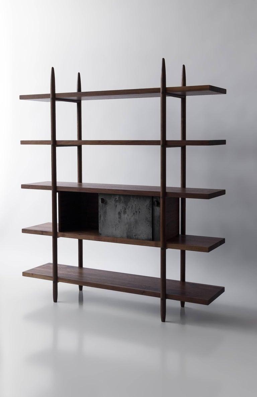 Deepstep Shelving, Walnut, Maple and Ebony Bookshelf with Fine Wood Detailing For Sale 4