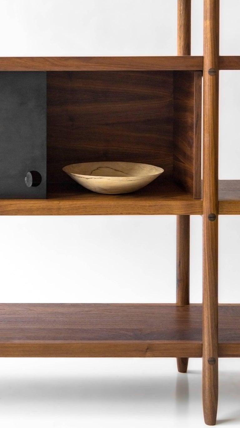 Deepstep Shelving, Walnut, Maple and Ebony Bookshelf with Fine Wood Detailing For Sale 5
