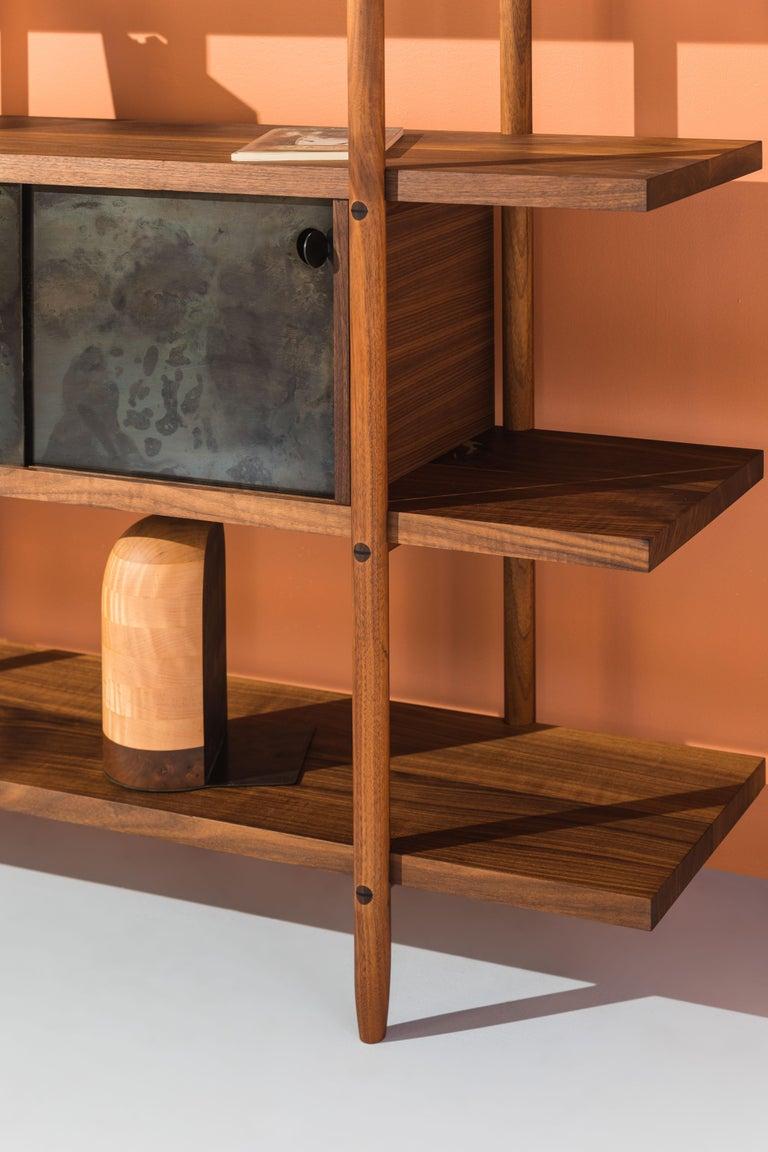Deepstep Shelving, Walnut, Maple and Ebony Bookshelf with Fine Wood Detailing For Sale 6