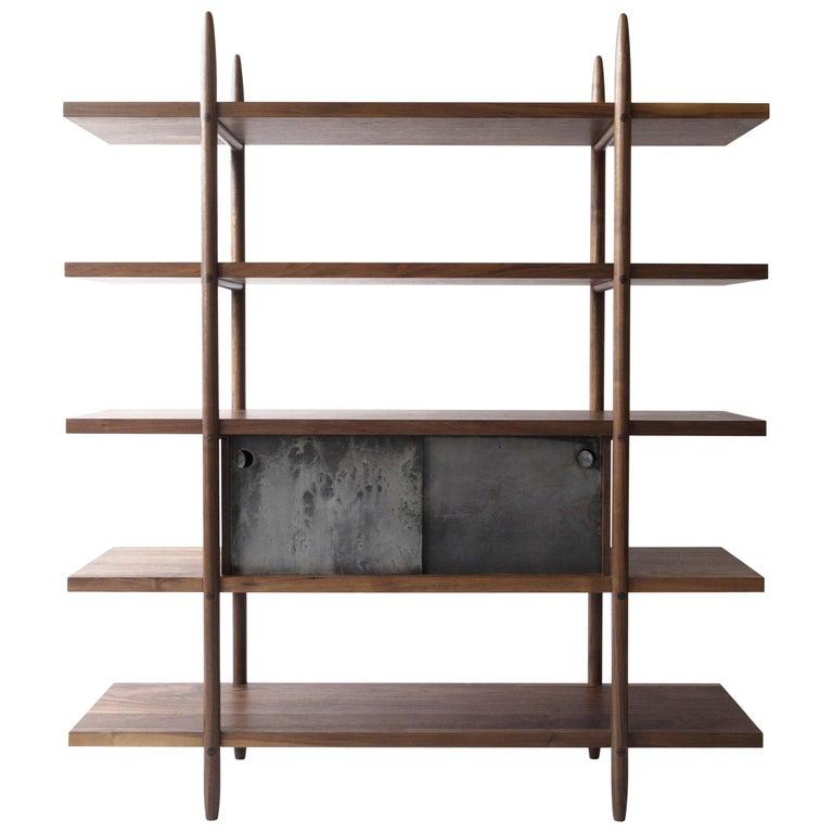 Deepstep Shelving, Walnut, Maple and Ebony Bookshelf with Fine Wood Detailing For Sale 7