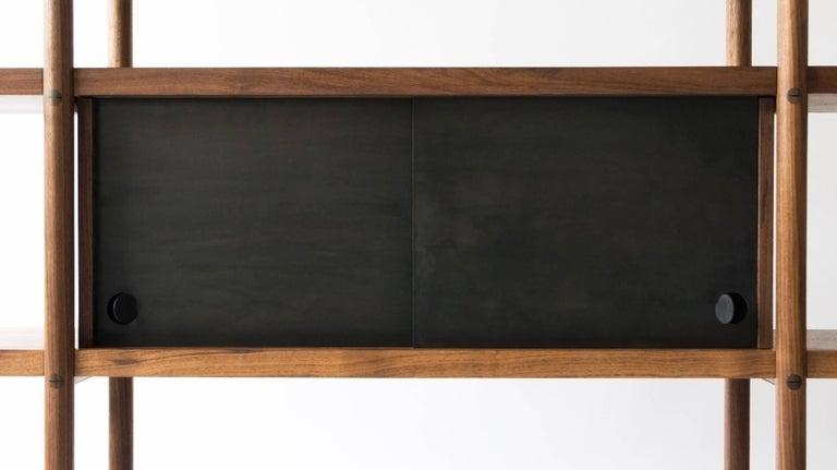 Deepstep Shelving, Walnut, Maple and Ebony Bookshelf with Fine Wood Detailing For Sale 8