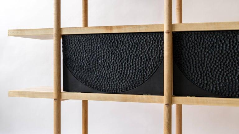 Deepstep Shelving, Walnut, Maple and Ebony Bookshelf with Fine Wood Detailing For Sale 9
