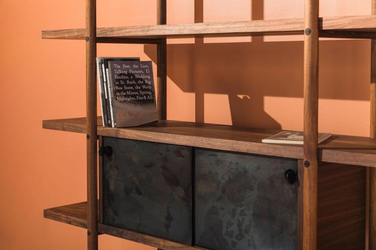 Deepstep Shelving, Walnut, Maple and Ebony Bookshelf with Fine Wood Detailing For Sale 10