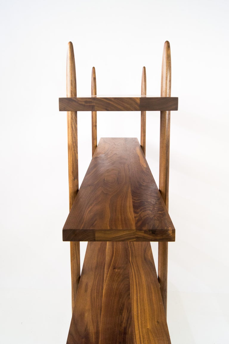 Deepstep Shelving, Walnut, Maple and Ebony Bookshelf with Fine Wood Detailing For Sale 11