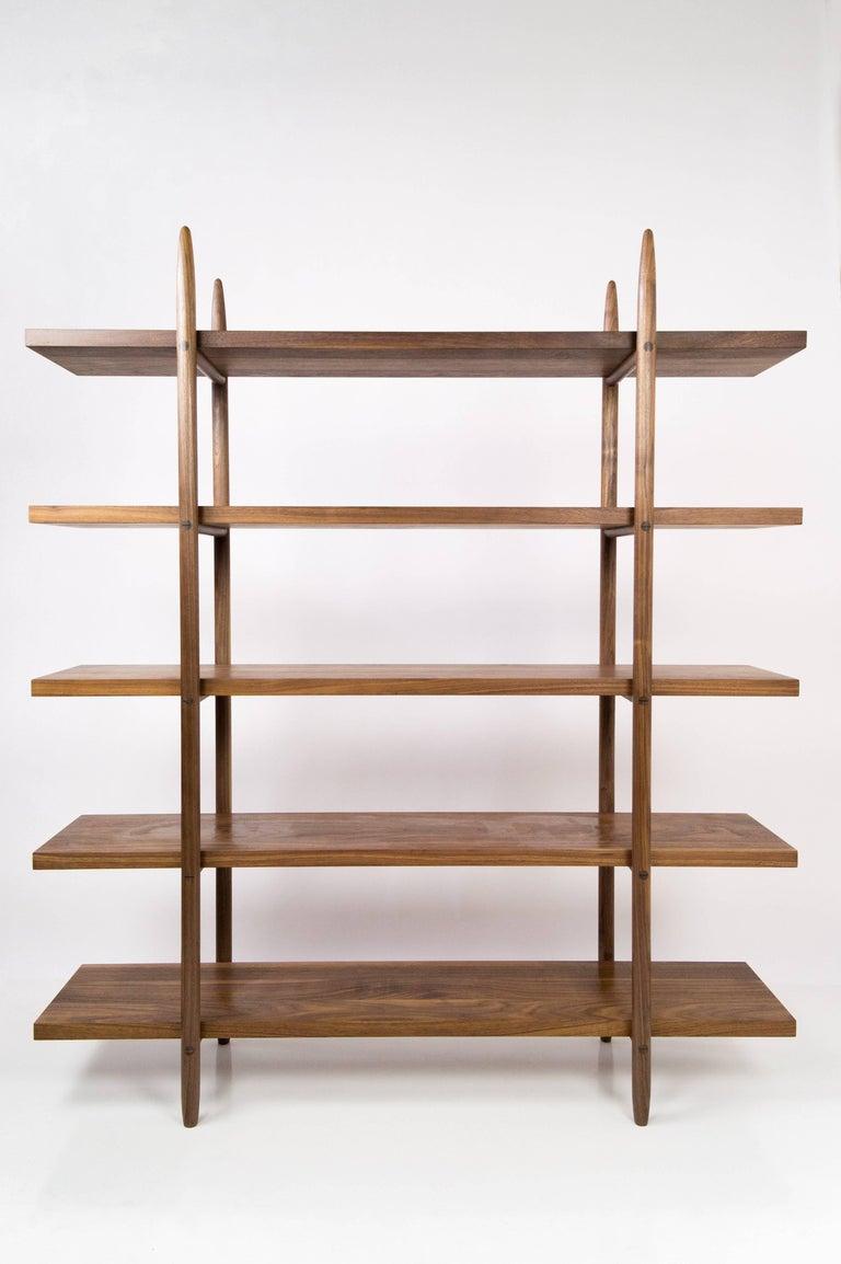 Deepstep Shelving, Walnut, Maple and Ebony Bookshelf with Fine Wood Detailing For Sale 13