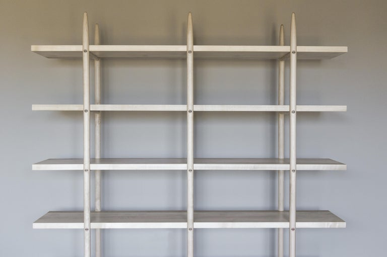 Deepstep Shelving, Walnut, Maple and Ebony Bookshelf with Fine Wood Detailing For Sale 14