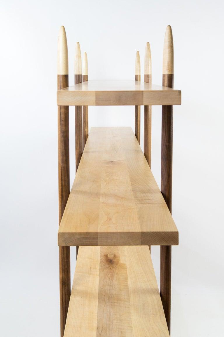 North American Deepstep Shelving, Walnut, Maple and Ebony Bookshelf with Fine Wood Detailing For Sale