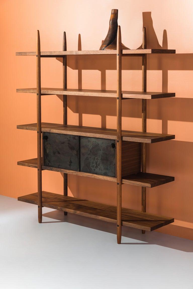 Hand-Crafted Deepstep Shelving, Walnut, Maple and Ebony Bookshelf with Fine Wood Detailing For Sale