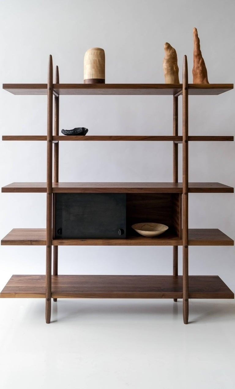 Deepstep Shelving, Walnut, Maple and Ebony Bookshelf with Fine Wood Detailing In New Condition For Sale In Ridgewood, NY
