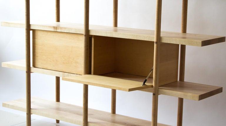 Deepstep Shelving, Walnut, Maple and Ebony Bookshelf with Fine Wood Detailing For Sale 1