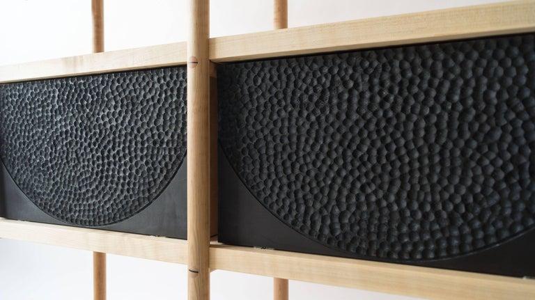 Deepstep Shelving, Walnut, Maple and Ebony Bookshelf with Fine Wood Detailing For Sale 2