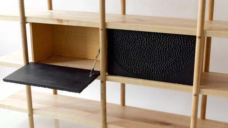 Deepstep Shelving, Walnut, Maple and Ebony Bookshelf with Fine Wood Detailing For Sale 3