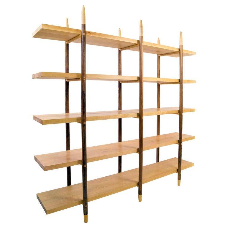 Deepstep Shelving, Walnut, Maple and Ebony Bookshelf with Fine Wood Detailing For Sale