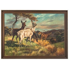 """Deer and Three Hinds"" Painting"