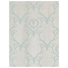 'Deer Damask' Contemporary, Traditional Fabric in Duck Egg Blue