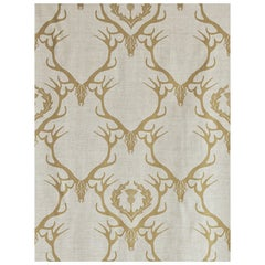 'Deer Damask' Contemporary, Traditional Fabric in Gold