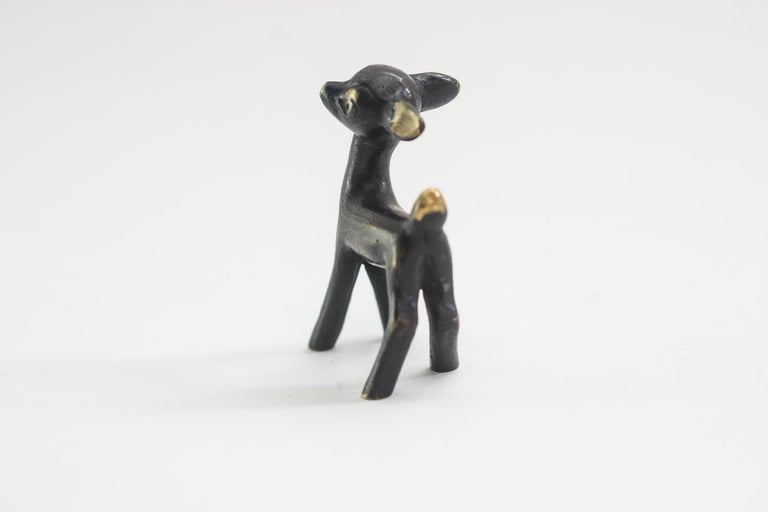 Deer figurine by Walter Bosse, Vienna, circa 1950s Original condition.