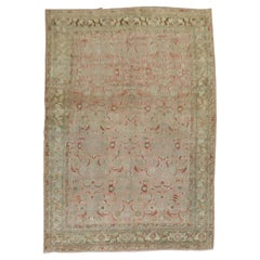 Deer Head Pink Antique Persian Bidjar Pictorial Room Size Rug