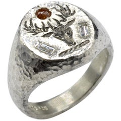 Deer Head Signet Diamond Baguette Rose Cut Sterling Silver Hammer Texture Ring