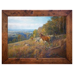 Deer in the Clearing Oil on Canvas, Albert Holz, 1920