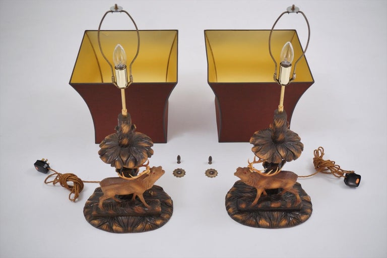 Deer Lamp, a Pair Black Forest Carving by Rhön Sepp 1940s, Germany For Sale 5