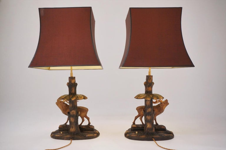 Mid-20th Century Deer Lamp, a Pair Black Forest Carving by Rhön Sepp 1940s, Germany For Sale