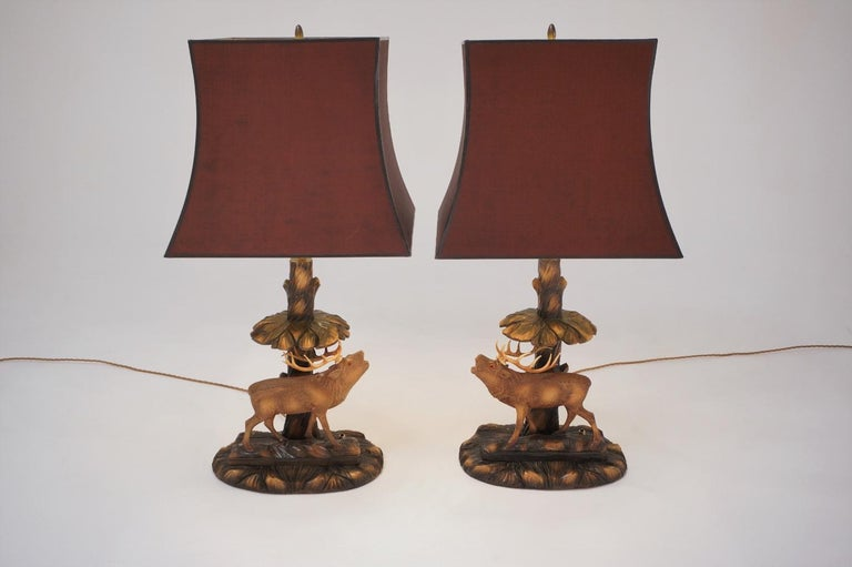 Deer Lamp, a Pair Black Forest Carving by Rhön Sepp 1940s, Germany For Sale 2