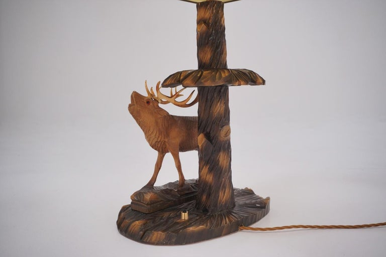 Deer Lamp, a Pair Black Forest Carving by Rhön Sepp 1940s, Germany For Sale 3
