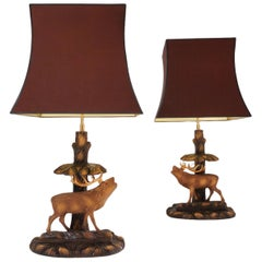 Deer Lamp, a Pair Black Forest Carving by Rhön Sepp 1940s, Germany
