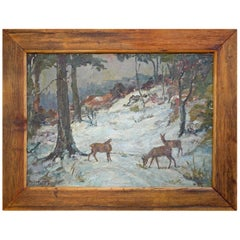 Deer Painting, Animals Oil on Canvas by Oskar Frey, 1920s