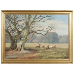 """Deer Park"", North of Copenhagen Denmark, Oil on Canvas, Signed K. Drews, 1938"