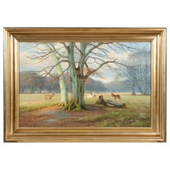 """Deer Park"", North of Copenhagen, Large Oil on Canvas, Signed K. Drews, 1939"
