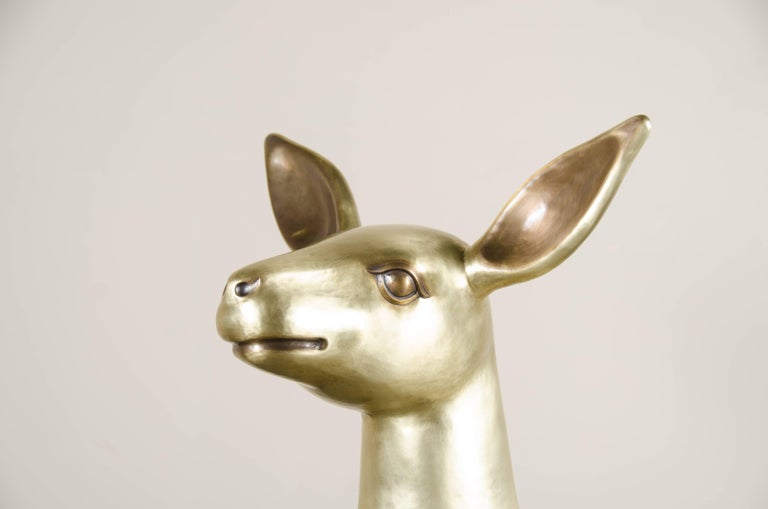 Deer Sculpture, Brass by Robert Kuo, Hand Repoussé, Limited Edition, in Stock In New Condition For Sale In West Hollywood, CA