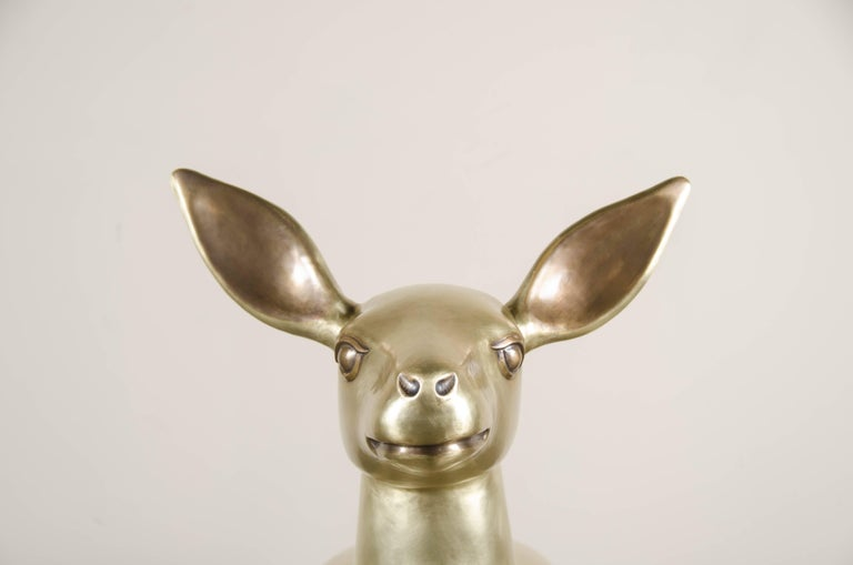 Contemporary Deer Sculpture, Brass by Robert Kuo, Hand Repoussé, Limited Edition, in Stock For Sale