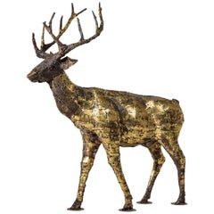 Deer, Sculpture in Oxidized Brass by François Melin, 1970