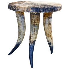 Deer Skin Covered Round Triple Bull Horn Stool or Side Table, circa 1970