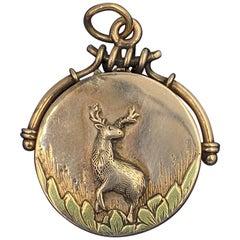 Deer Stag Locket Pendant Gold Victorian Belle Epoque