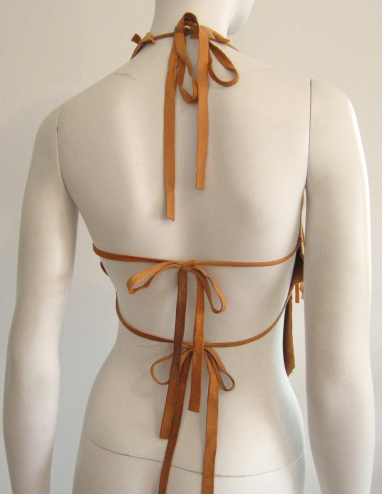 Artisan Made Leather Halter Top and Loincloth Set Bustier Corset Set Distressed Color Deerskin Custom HandMade by Debbie Leather