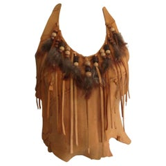 Deerskin Leather Halter Top Handmade Feathers 1970s