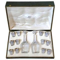 Deflon French Sterling Silver 18-Karat Gold Liquor Set of 14-Piece, Original Box