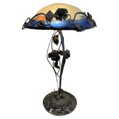 Degue Art Nouveau Style Hand Painted Lamp