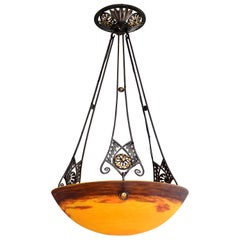 Degue & Dubois Wide French Art Deco Pendant Chandelier, Late 1920s