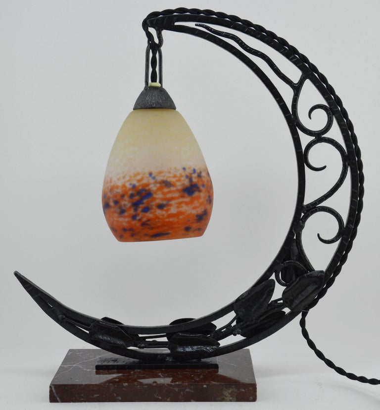 Glass Degué French Art Deco Desk or Table Lamp, Late 1920s For Sale