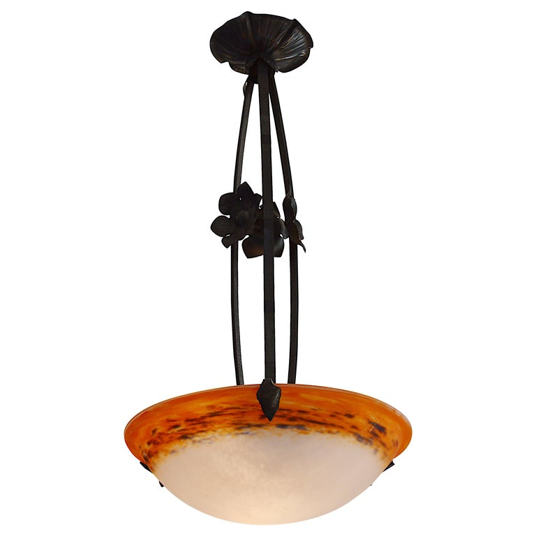 Degue French Art Deco Mottled Pendant Chandelier, Late 1920s For Sale