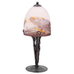 Degue French Art Deco Mottled Table Lamp, Late 1920s