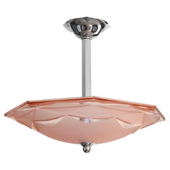 Degue French Art Deco Pink Pendant Chandelier, Early 1930s