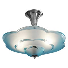 Degué Wide French Art Deco Blue Cloud Semi Flushmount Pendant Chandelier, 1930