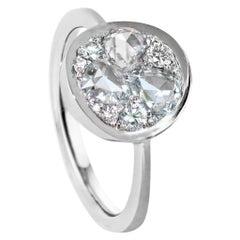DEGVVS Rose-Cut and  DEGVVS Brilliant-Cut Diamond Platinum Mosaic Pave Ring