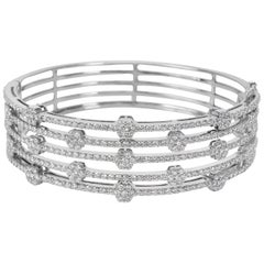 Dehago Five-Row Diamond Bangle in 14 Karat White Gold 4.10 Carat