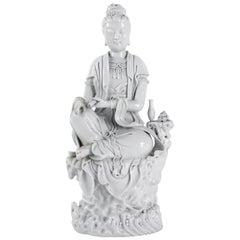 Dehua Porcelain Buddhist Deity, Chinese White, 19th Century, Asia, Quanine